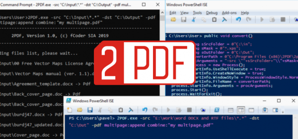 2PDF software can create multipage PDF from the command line