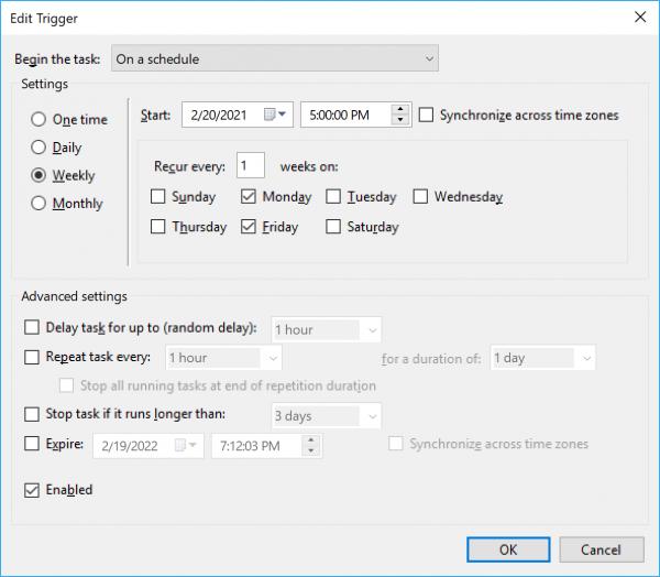 Dodaje aktywator czasu in Task Scheduler
