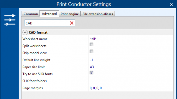 Advanced print settings for CAD drawings
