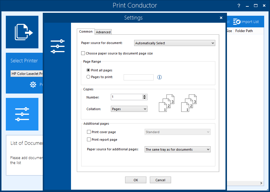 Common Settings in Print Conductor