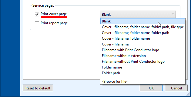 Select a template for cover page to be printed between documents