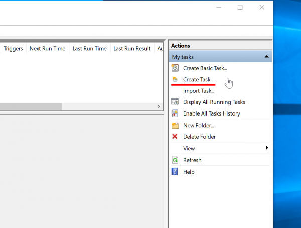 Tworzy nowe zadanie w Task Scheduler