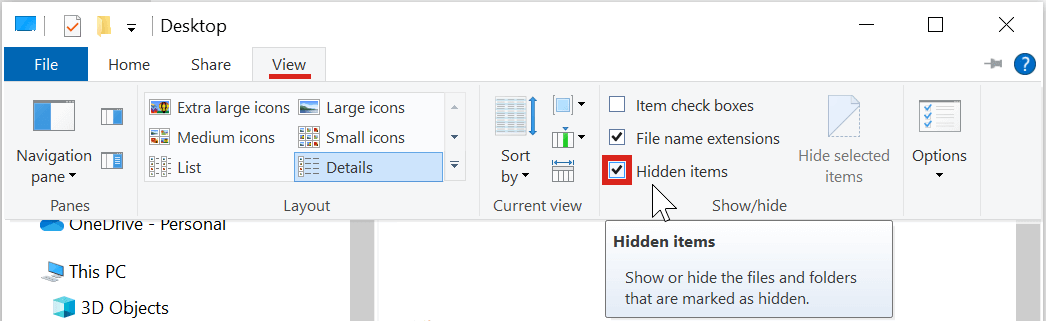 Display hidden items in a Windows folder