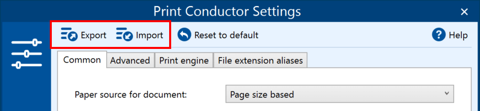 Save/load Print Conductor Settings