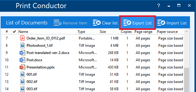 Export a saved list for future use