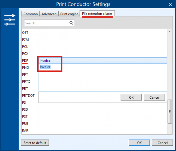 File associations in Print Conductor