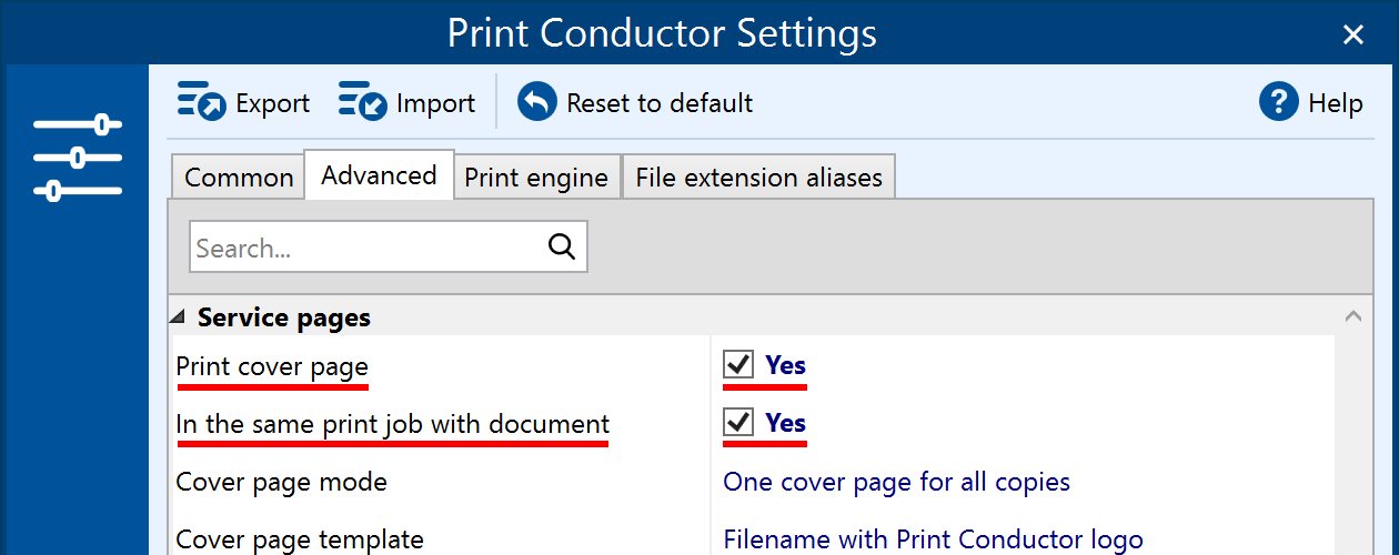 Print cover page in the same print job with the document