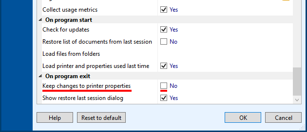 Keep changes to printer properties on program exit