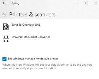 Let Windows manage default printer