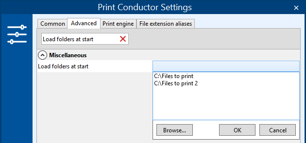 Import files from selected folders at Print Conductor start