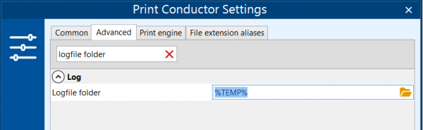 Change location for logs in Print Conductor
