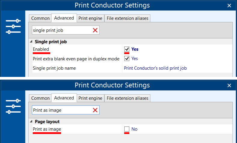 Enable single print job mode and disable printing as image