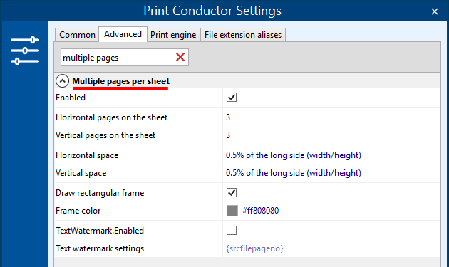 Print several pages on one sheet