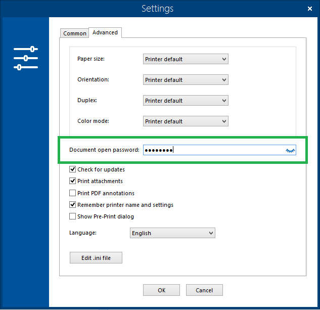 Input password to print password-protected documents