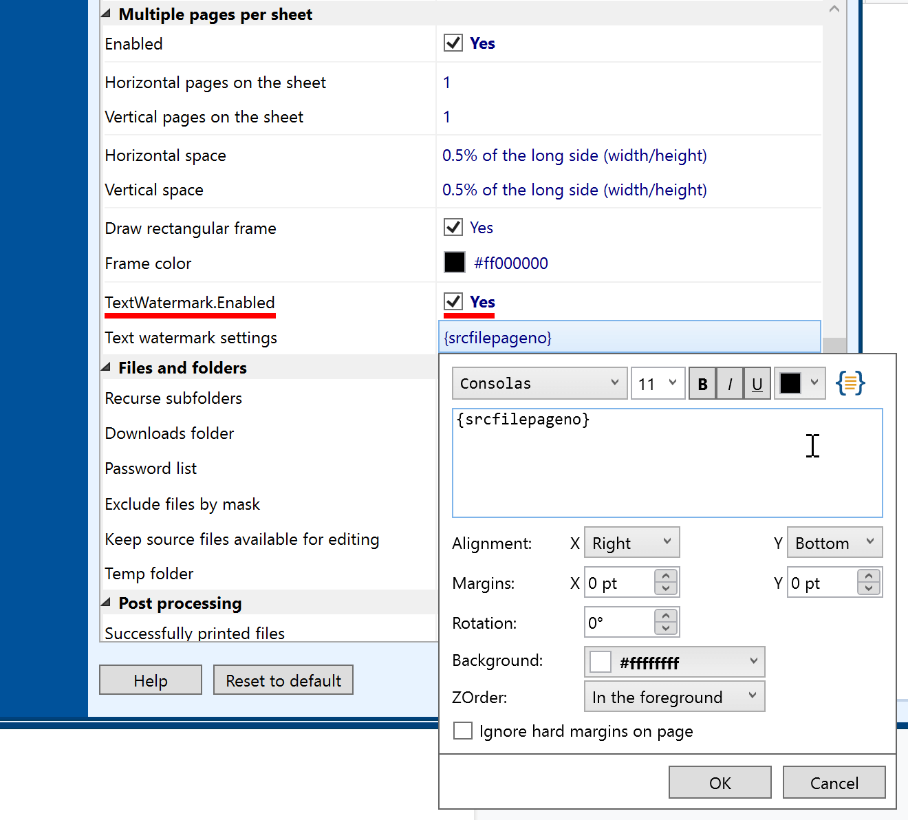 Print multiple pages per sheet + page number