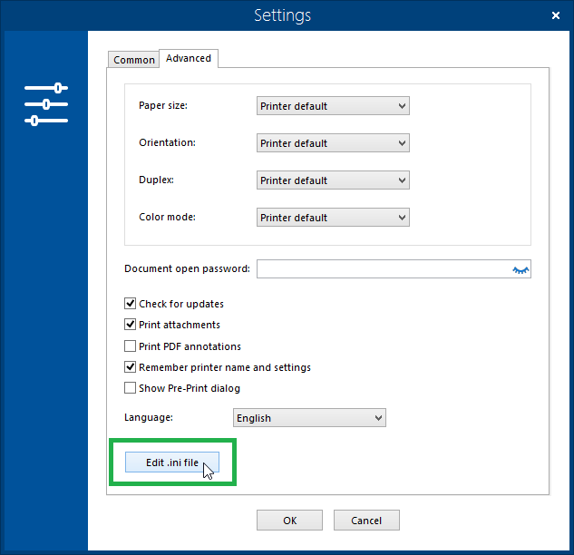 Advanced Settings in Ini File - Print Conductor