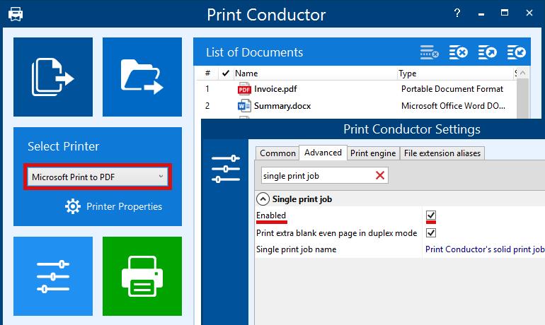 Print to PDF via Single print job mode and virtual printer