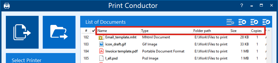 Sort files in the List of Documents