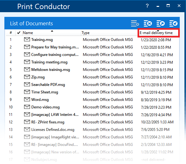 Sorting Microsoft Outlook MSG, EML files by delivery time and batch printing them