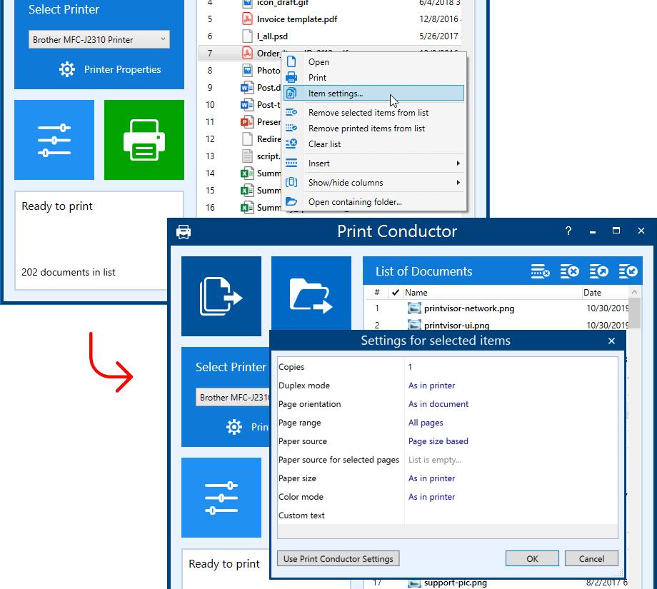 Individual print settings for each file