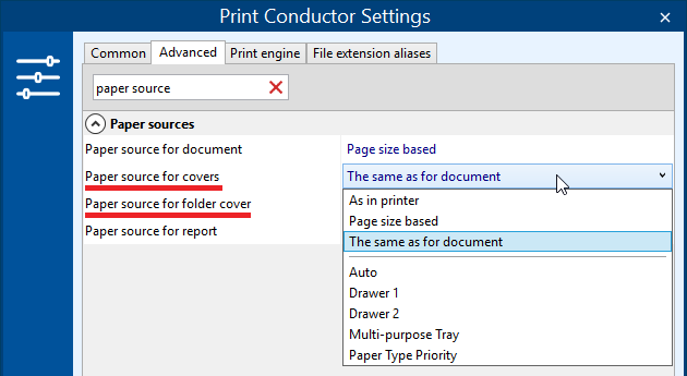 Select paper source for cover pages