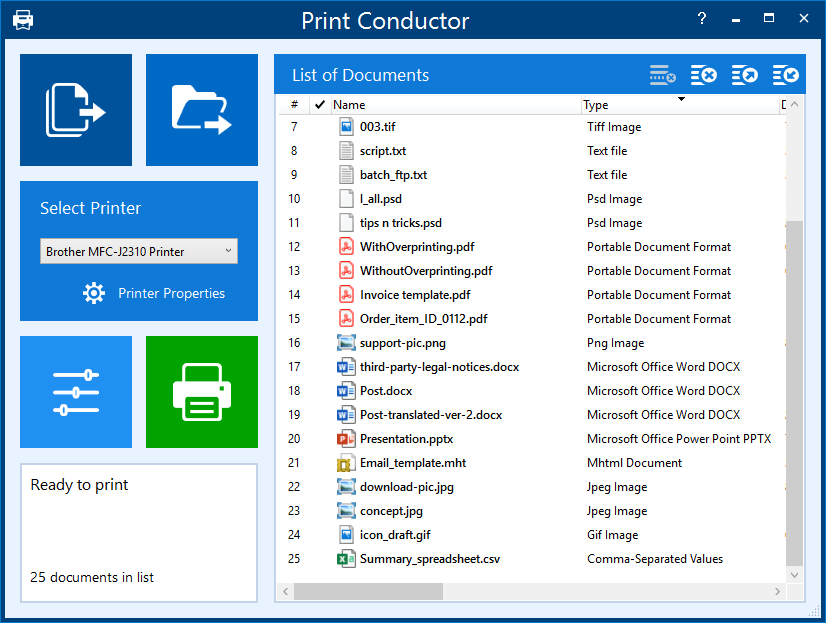 New GUI of Print Conductor 7.0