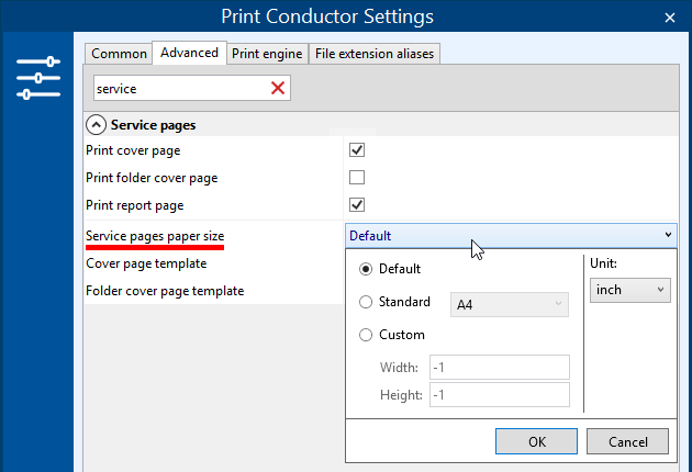 Set paper size for service pages