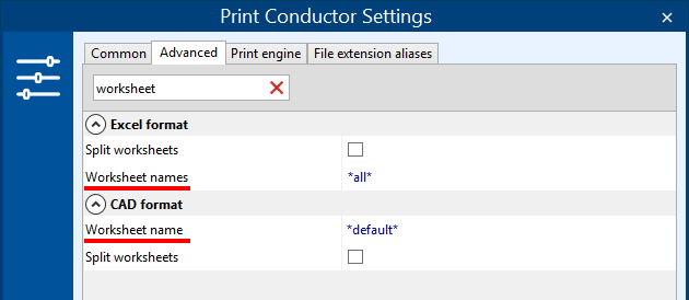 Print only specific worksheets of CAD or Excel files