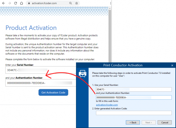 Enter the Serial Number and Authentication Number in the webform