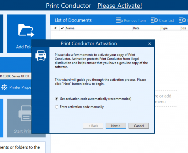 Print Conductor activation wizard