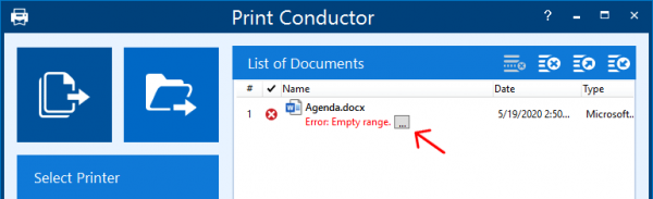 Open error details in Print Conductor