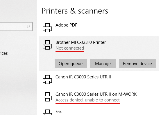 """Access denied"" and ""Not connected"" printer statuses"