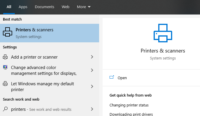 Printers & scanners in Windows taskbar