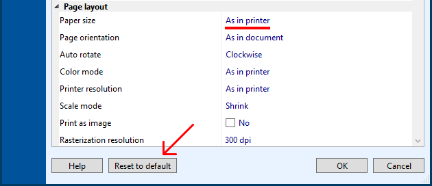 Reset Print Conductor settings to default