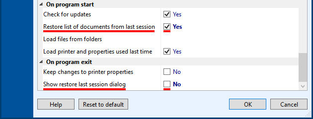 Restore the List of Documents with individual item settings