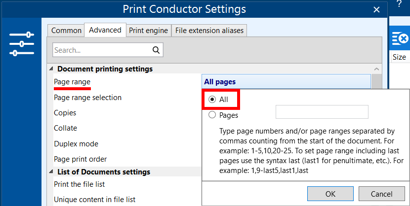 Select document pages for batch printing (page range)