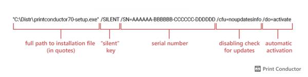 Print Conductor silent installation via command line