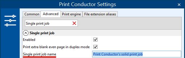 Define print job name in Single print job mode