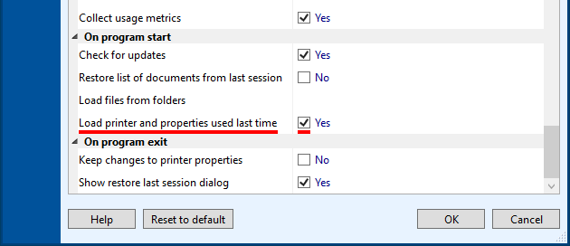 Use the printer you last used and its Printer Properties