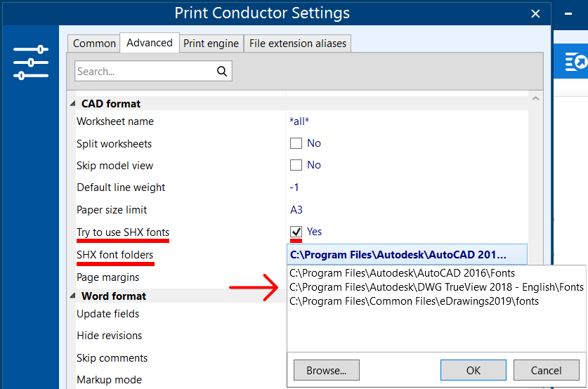 Use SHX fonts for batch printing DWG, DXF files (CAD drawings)