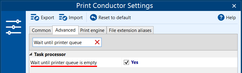 Resume printing only when printer queue is empty